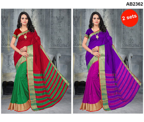 COMBOS-Poly Cotton Silk  Sarees - SRP-Half Green Red , SRP-Half PinK Purple
