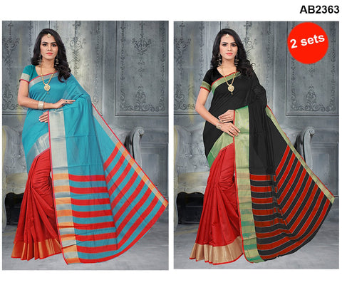 COMBOS-Poly Cotton Silk  Sarees - SRP-Half Red Sky , SRP-Half Red Black