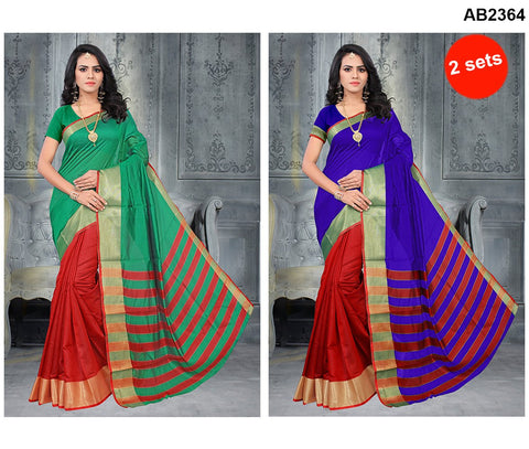 COMBOS-Poly Cotton Silk  Sarees - SRP-Red Rama , SRP-Half Red Blue