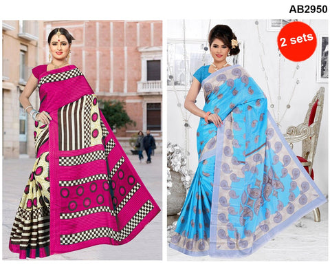 COMBOS-White Silk Sarees - SRP-93MangoSkyBlue , SRP-92RoundPink
