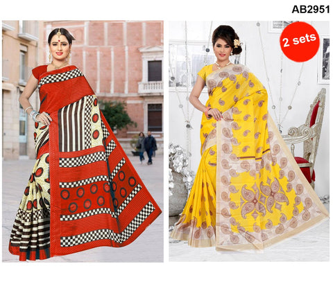 COMBOS-White Silk Sarees - SRP-93MangoYellow , SRP-92RoundRed
