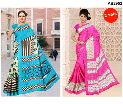 COMBOS-White Silk Sarees - SRP-95TreePink , SRP-RoundSkyBue
