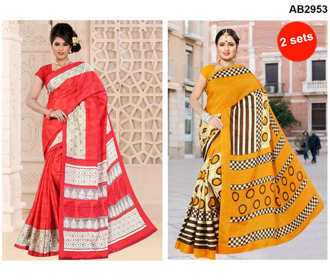 COMBOS-White Silk Sarees - SRP-92RoundYellow , SRP-95TreeRed