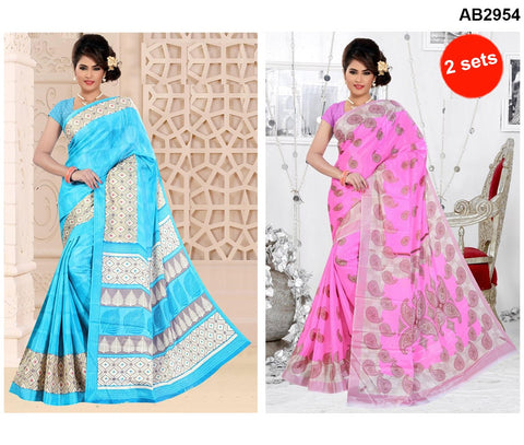 COMBOS-White Silk Sarees - SRP-93MangoLightPink , SRP-95TreeSkyBlue