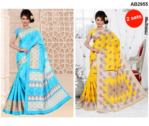 COMBOS-White Silk Sarees - SRP-93MangoYellow , SRP-95TreeSkyBlue