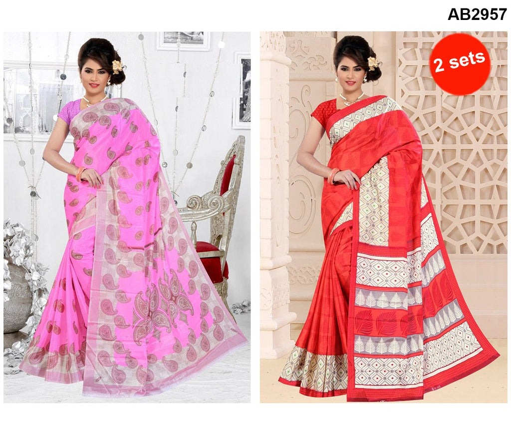 Buy COMBOS-White Silk Sarees - SRP-95TreeRed , SRP-93MangoLightPink