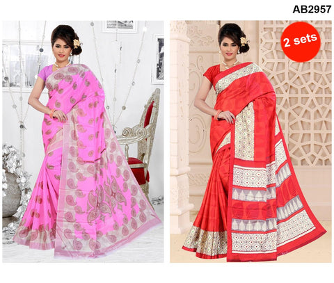 COMBOS-White Silk Sarees - SRP-95TreeRed , SRP-93MangoLightPink