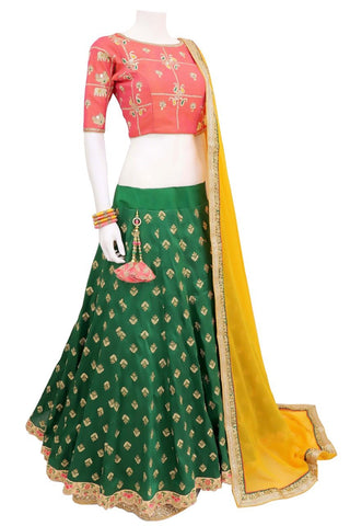 Green Color Bride Banarasi Semi Stitched Lehenga - af-1128