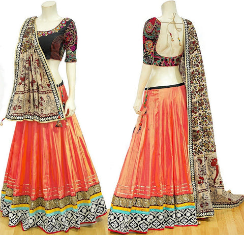 Orange Color Bride Banarasi Semi Stitched Lehenga - af-1131