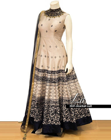 Beige Colour Color Phantam Silk  Semi Stitched Gown - af-3041