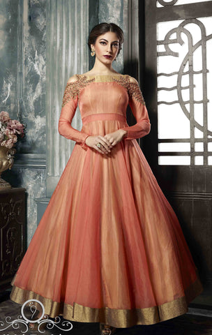 Peach And Dark Peach Color Nura Silk  Semi Stitched Gown - af-3042