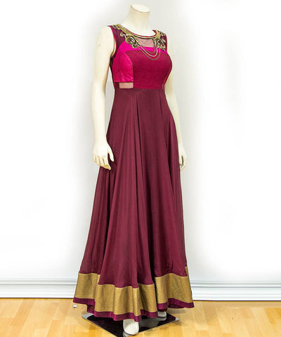 Wine Color Georgette  Semi Stitched Gown - af-3043