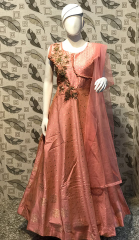 Baby Pink Color Pure Bamboo Silk With Fussing Stitched Gown - af-3044