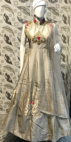 Steel Grey Color Pure Bamboo Silk With Fussing Stitched Gown - af-3045