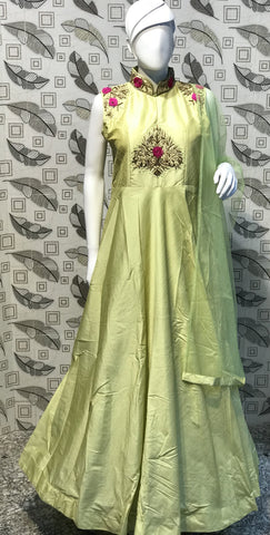 Lime Yellow Color Pure Bamboo Silk With Fussing  Stitched Gown - af-3046