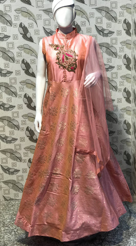 Baby Pink Color Pure Bamboo Silk With Fussing  Stitched Gown - af-3047