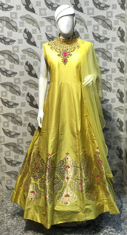 Turmeric Yellow Color Pure Bamboo Silk With Fussing  Stitched Gown - af-3048