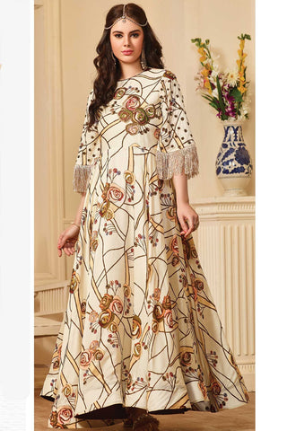 Cream Color Maslin Cotton Stitched Gown - af-419