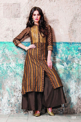 Multi Color Maslin Cotton Stitched Gown - af-423