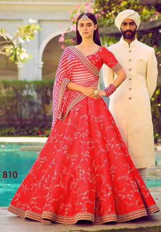 Red Color Malai Satin Semi Stitched Lehenga - af-810