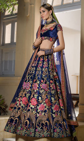 Navy Blue Color Indian Velvet  Semi Stitched Lehenga - af-895