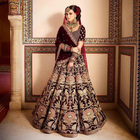 Maroon Color Indian Velvet  Semi Stitched Lehenga - af-896