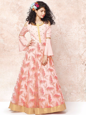 Powder Pink Color Silk With Net Girls Stitched Gown - af-94005