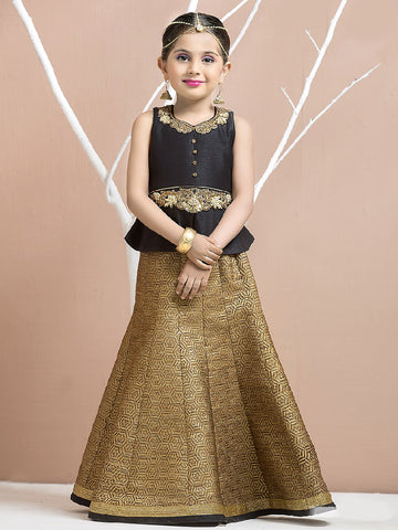 Black Color Malbary Silk Girls Stitched Lehenga - af-94008