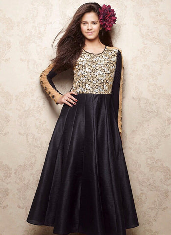 Black Color Banglori Silk Girls Stitched Gown - af-95002