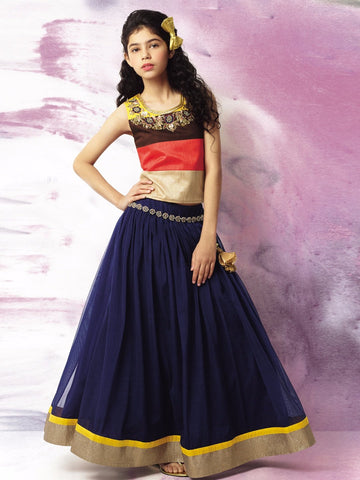 Multi Color Banglori Silk Girls Stitched Gown - af-95014