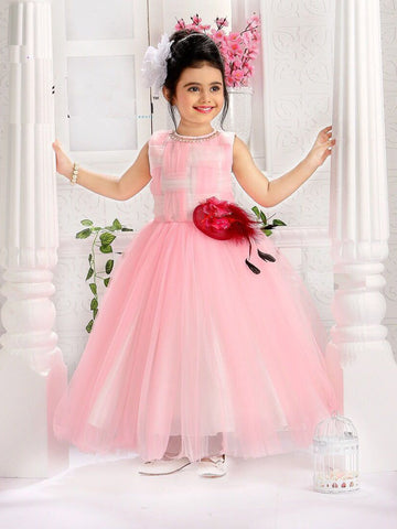 Pink Color Net Girls Stitched Gown - af-96007