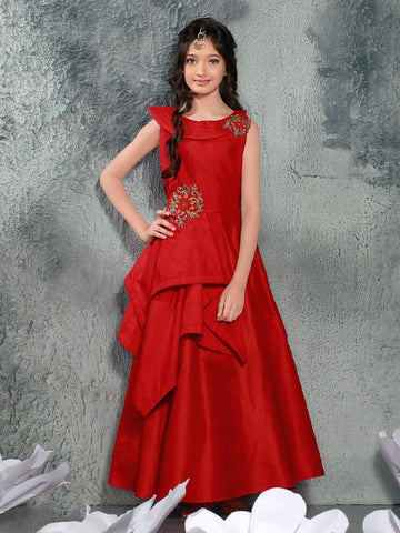 Rose Red Color Malbary Silk Girls Stitched Gown - af-97002