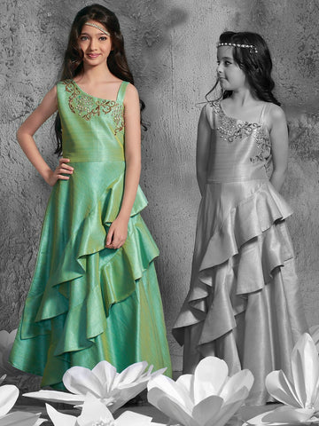 Pista Green Color Malbary Silk Girls Stitched Gown - af-97005