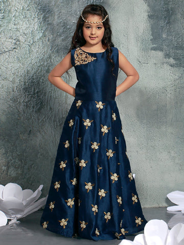Navy Blue Color Chennai Silk Girls Stitched Gown - af-97012