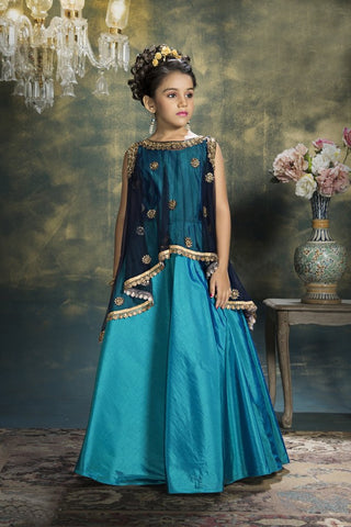 Navy Blue Color Soft Net Girls Stitched Gown - af-97015