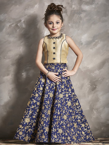 Navy Blue Color Chennai Silk Girls Stitched Lehenga - af-98005