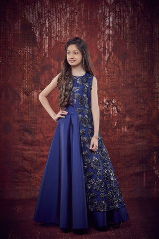 Navy Blue Color Soft Tapeta Girls Stitched Gown - af-98011