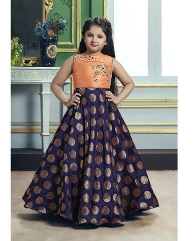 Peach Orange And Navy Blue Color Jacquard Silk And Malbary Silk Girls Stitched Gown - af-98016