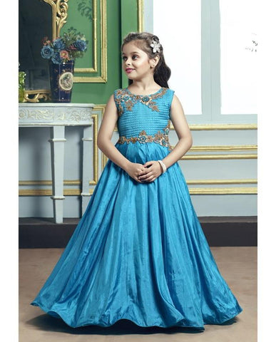 Morpich Color Paper Butti Silk Girls Stitched Gown - af-98017