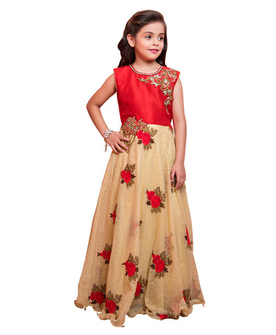 Red And Cream Color Mabalry And Fancy Net Girls Stitched Gown - af-98021A