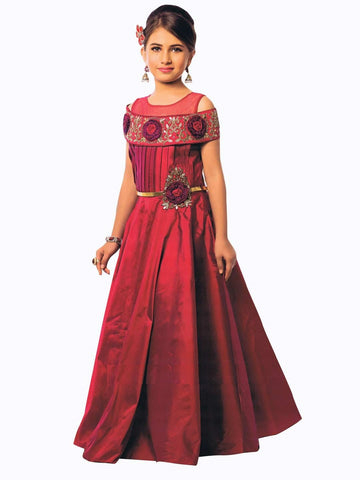 Maroon Color Canton Silk Girls Stitched Gown - af-98022
