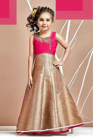 Hot Rose Pink Color Malbary Silk Girls Stitched Gown - af-98025