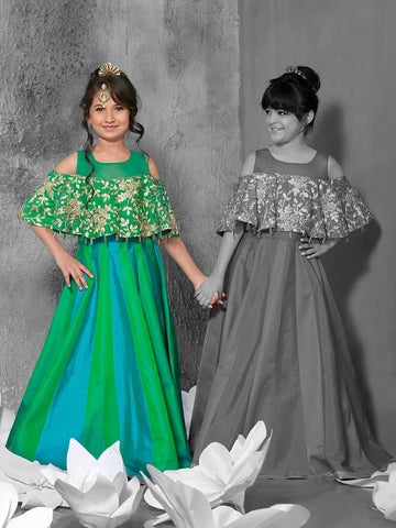 Green And Morpich Color Jacquard Girls Stitched Gown - af-98027