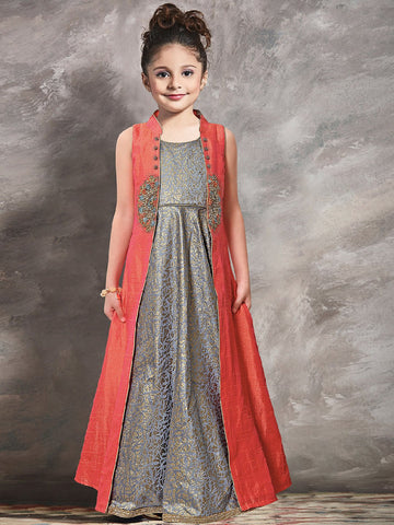 Strawberry And Grey Color Mastani Silk And Paper Silk Girls Stitched Gown - af-98028