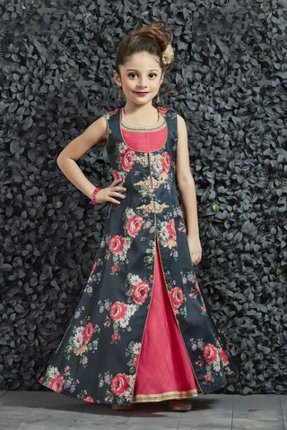 Lotus Pink Color Banarasi Silk Girls Stitched Gown - af-98031