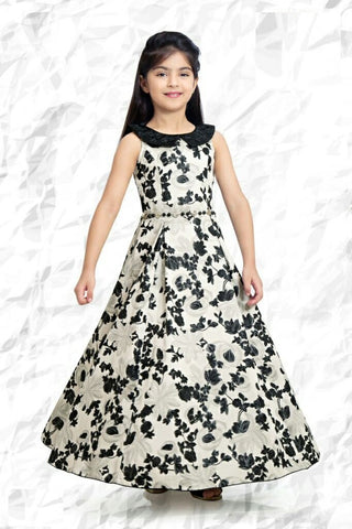 Black And White Color Jacquard Girls Stitched Gown - af-98033