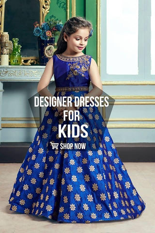 Morpich Blue Color Jacqaurd Girls Stitched Gown - af-98037