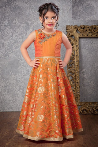 Orange Color Jacquard Sumilon Zari Girls Stitched Gown - af-98038
