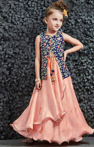 Navy Blue Color Silk Girls Stitched Gown - af-98043