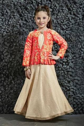 Cream Color Banarasi Girls Stitched Gown - af-98044